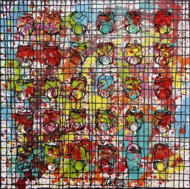 canettes de  soda compressées, multicolore, quadrillage Tableau Contemporain, Black Network. Sophie Costa, artiste peintre.