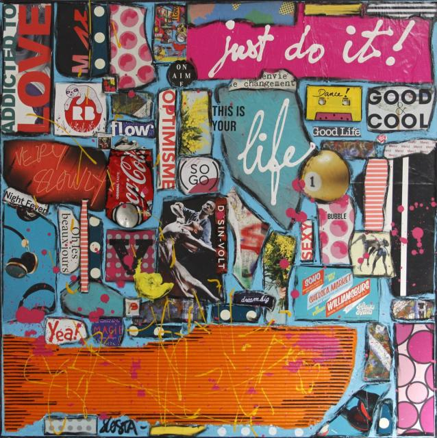collage, multicolore, positif Tableau Contemporain, Just do it !. Sophie Costa, artiste peintre.