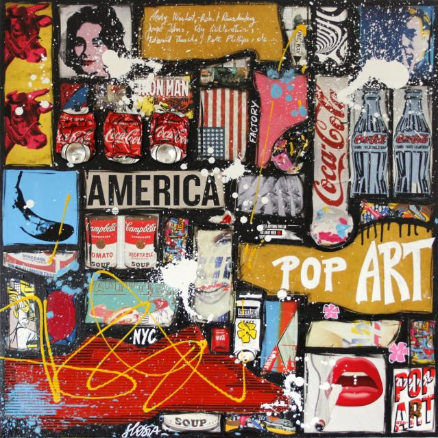 popart, collage, multicolore Tableau Contemporain, POP AMERICA. Sophie Costa, artiste peintre.