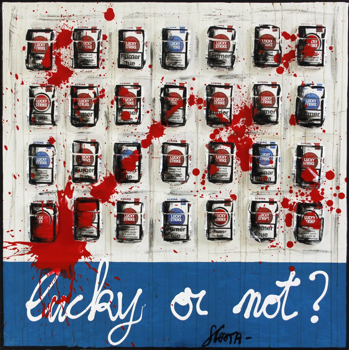 lucky strike, collage Tableau Contemporain, LUCKY OR NOT? #3. Sophie Costa, artiste peintre.