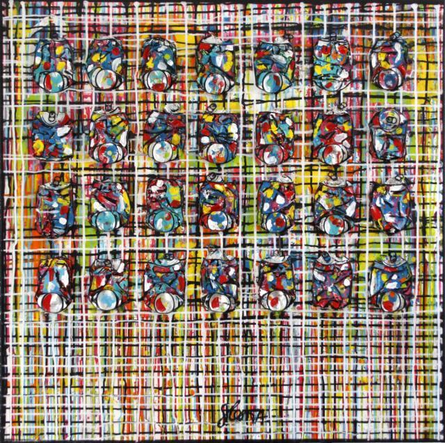 multicolore, quadrillage, dripping, centtes compressées Tableau Contemporain, COMPLEXITY. Sophie Costa, artiste peintre.
