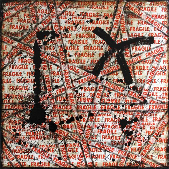 collage, fragile, scotch Tableau Contemporain, FRAGILE # 3. Sophie Costa, artiste peintre.