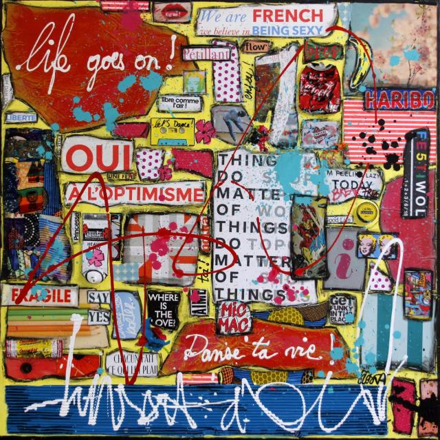 collage, multicolore Tableau Contemporain, Life goes on !. Sophie Costa, artiste peintre.