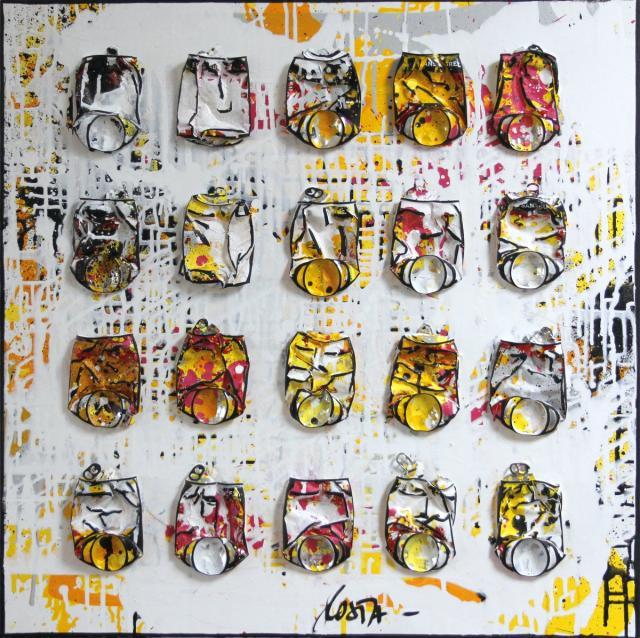 canettes compressees, upcycling, collage Tableau Contemporain, LIGHTNESS. Sophie Costa, artiste peintre.