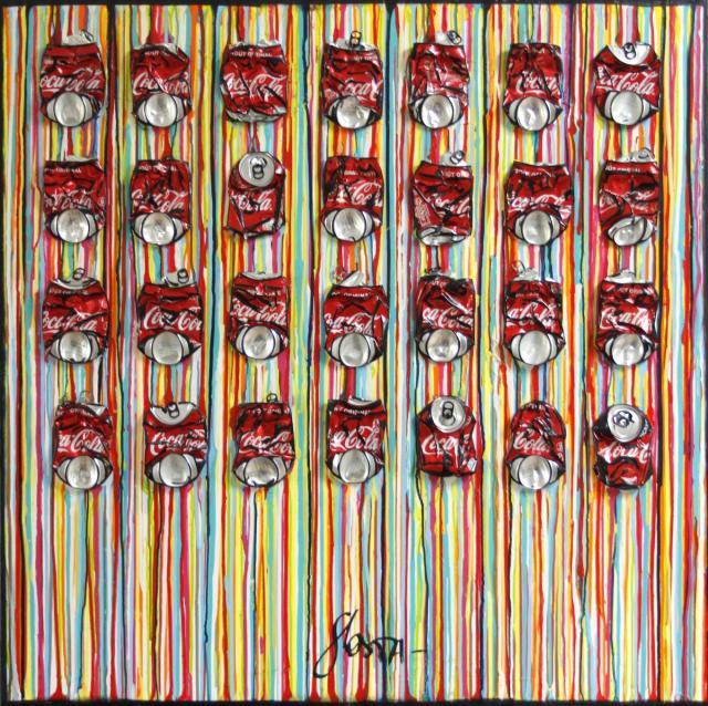 upcycling, canettes de coca compressées, collage Tableau Contemporain, Striped coke. Sophie Costa, artiste peintre.