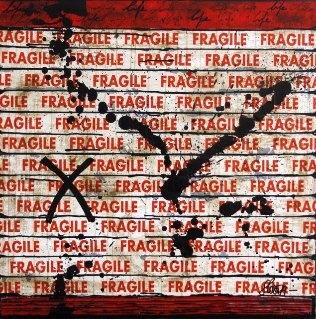 collage, fragile, scotch Tableau Contemporain, Fragil life # 2. Sophie Costa, artiste peintre.