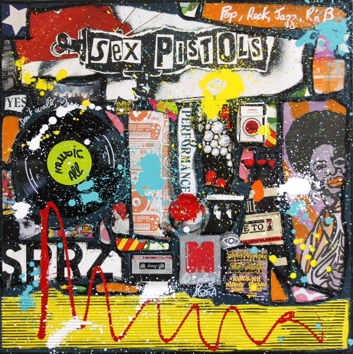 collage, music Tableau Contemporain, All Music !. Sophie Costa, artiste peintre.