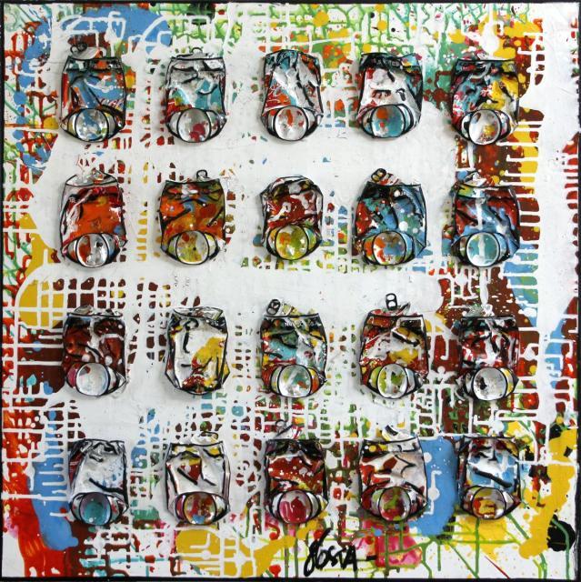 collage, upcycling, canettes compressées Tableau Contemporain, Danse ta vie !. Sophie Costa, artiste peintre.