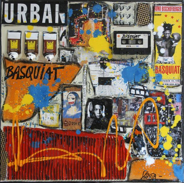 basquiat, collage Tableau Contemporain, BASQUIAT. Sophie Costa, artiste peintre.