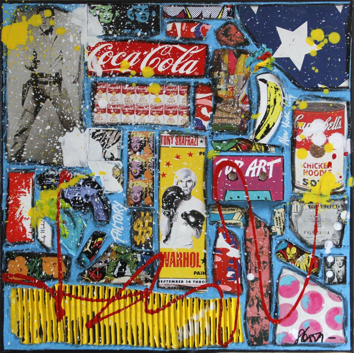 collage, andy warhol Tableau Contemporain, Warhol Attitude. Sophie Costa, artiste peintre.