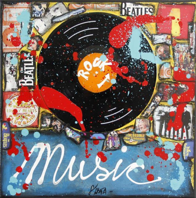 beatles, collage, painting Tableau Contemporain, The Beatles Mania. Sophie Costa, artiste peintre.