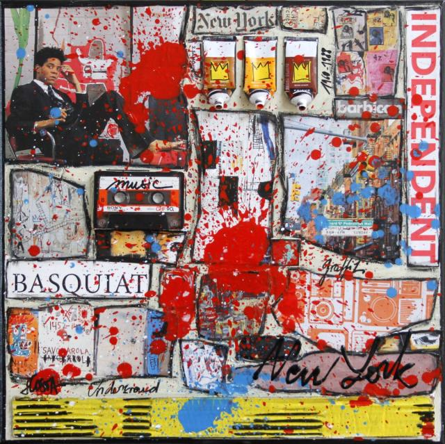 collage, basquiat Tableau Contemporain, Basquiat, the independent. Sophie Costa, artiste peintre.