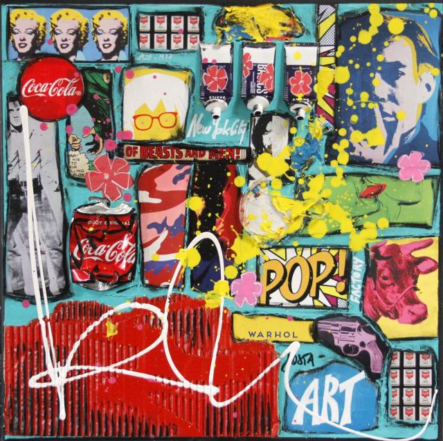 collage, andy warhol Tableau Contemporain, POP ART #2. Sophie Costa, artiste peintre.