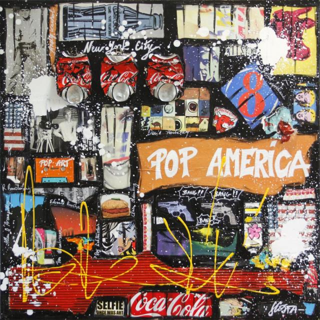 collage, pop art Tableau Contemporain, POP AMERICA # 4. Sophie Costa, artiste peintre.