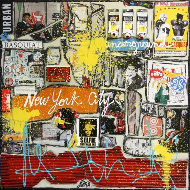 basquiat, collage Tableau Contemporain, NY underground (Tribute to Basquiat). Sophie Costa, artiste peintre.