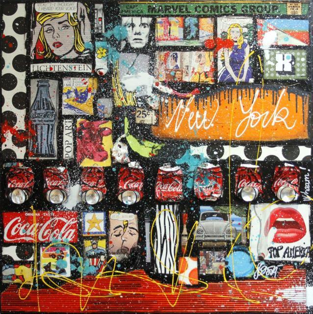 collage, popart, roy Lichtenstein Tableau Contemporain, ROY AND CO. Sophie Costa, artiste peintre.