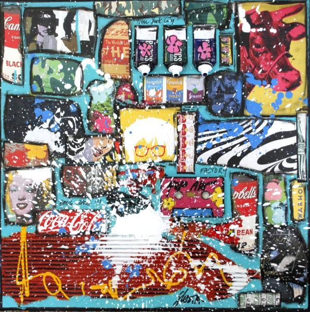 collage, warhol Tableau Contemporain, pop pop pop. Sophie Costa, artiste peintre.