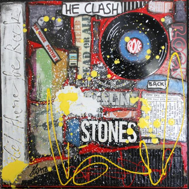 collage, rock, vinyle Tableau Contemporain, Let there be rock !. Sophie Costa, artiste peintre.