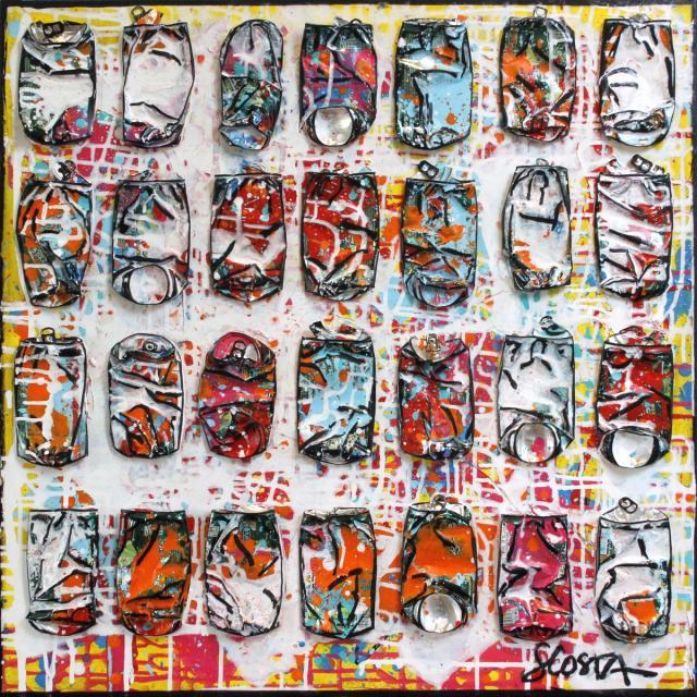 collage, canettes compressees Tableau Contemporain, I Feel good. Sophie Costa, artiste peintre.