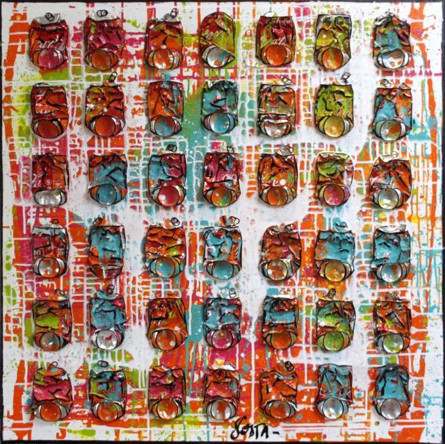 collage, canettes compressees Tableau Contemporain, Sun lights. Sophie Costa, artiste peintre.
