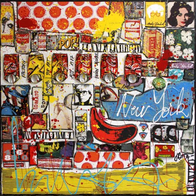 popart, collage, colorful Tableau Contemporain, POP POP. Sophie Costa, artiste peintre.