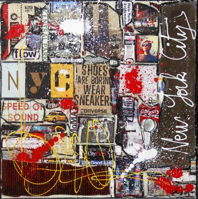 nyc, collage, colorful Tableau Contemporain, NYC. Sophie Costa, artiste peintre.