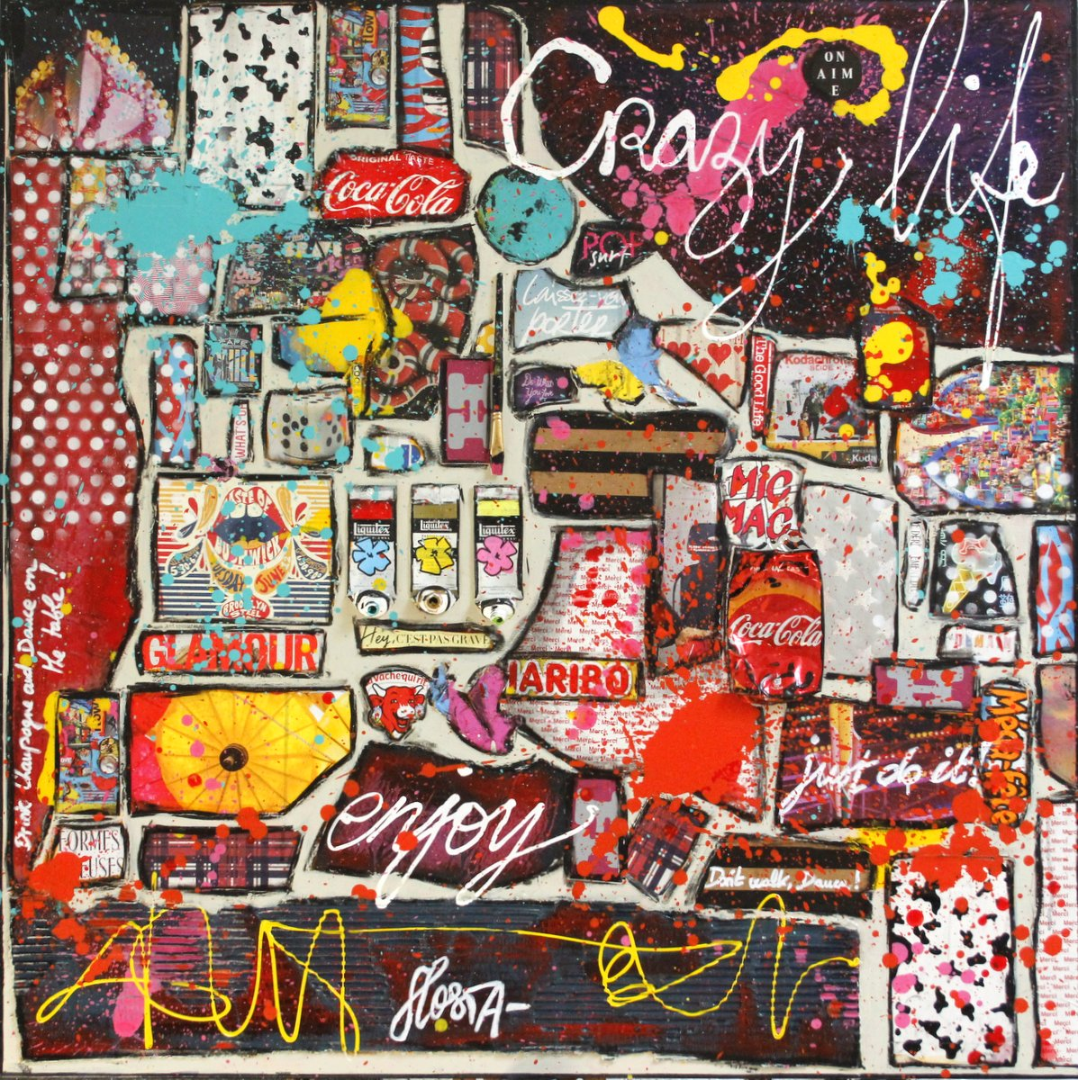 collage, multicolore, crazy Tableau Contemporain, CRAZY LIFE. Sophie Costa, artiste peintre.
