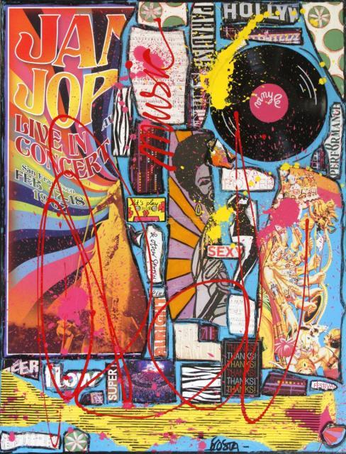 collage, music, janis joplin Tableau Contemporain, JANIS. Sophie Costa, artiste peintre.