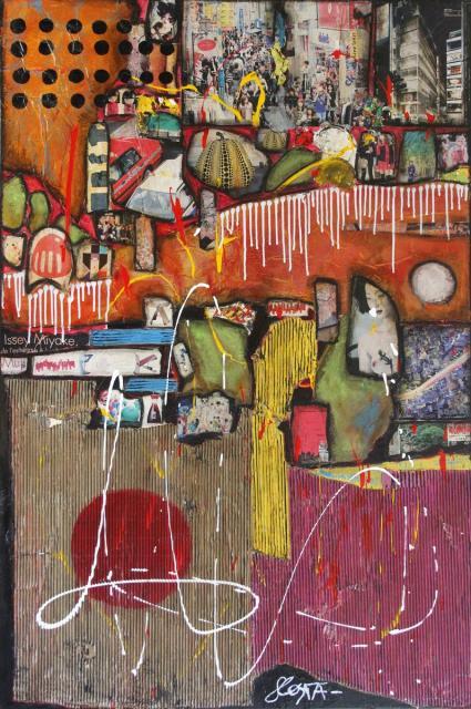collage/multicolore/japon Tableau Contemporain, JAPAN. Sophie Costa, artiste peintre.