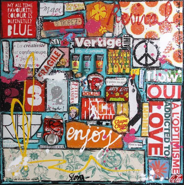 collage, multicolore, happylife, optimiste Tableau Contemporain, REVIVAL. Sophie Costa, artiste peintre.