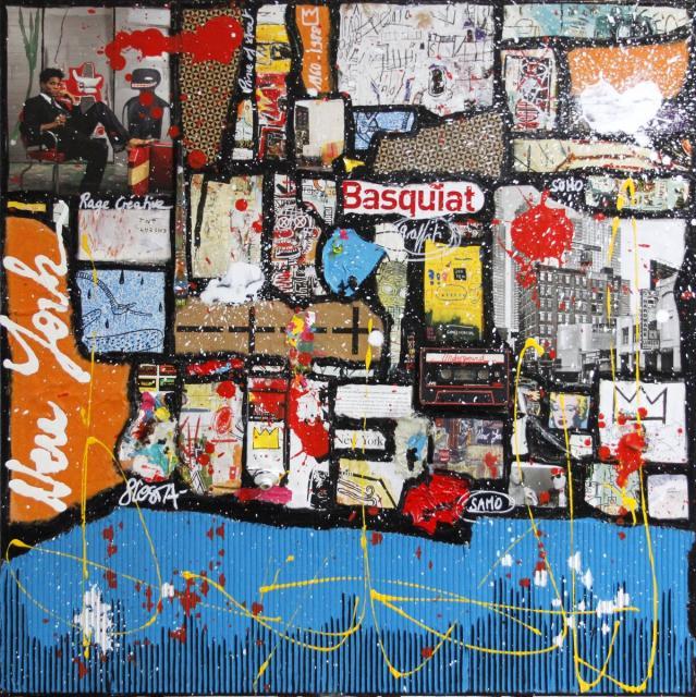 collage, multicolore, basquiat Tableau Contemporain, Basquiat forever. Sophie Costa, artiste peintre.