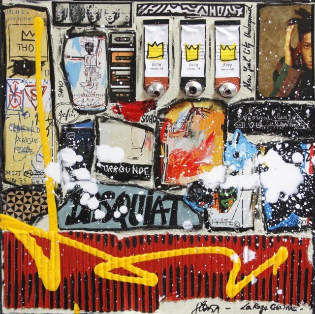 collage, basquiat Tableau Contemporain, Basquiat # 2. Sophie Costa, artiste peintre.