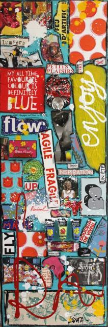 collage, pop art Tableau Contemporain, ENJOY !. Sophie Costa, artiste peintre.