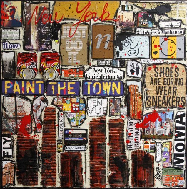 collage, nyc Tableau Contemporain, PAINT THE TOWN. Sophie Costa, artiste peintre.