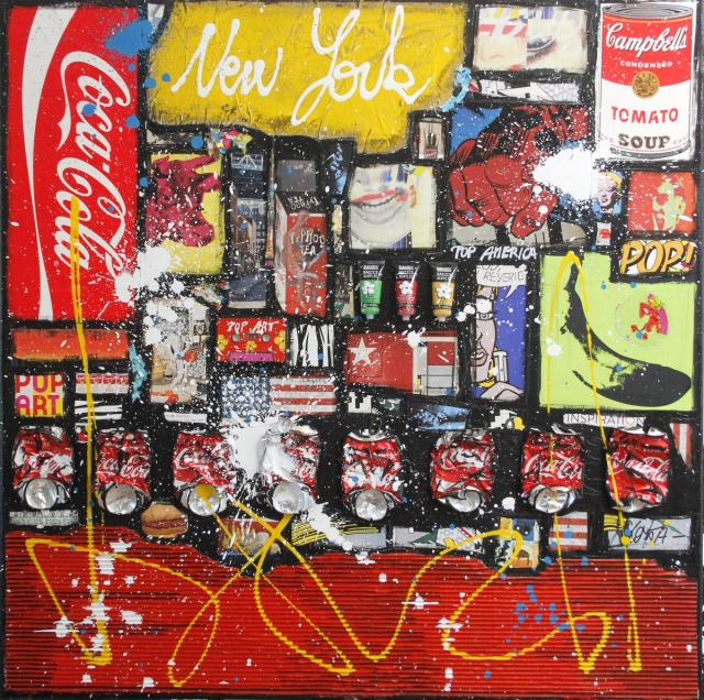 collage, pop art Tableau Contemporain, POP AMERICA # 2. Sophie Costa, artiste peintre.