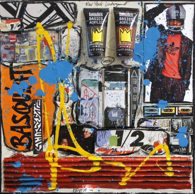 collage, basquiat Tableau Contemporain, Tribute to Basquiat. Sophie Costa, artiste peintre.