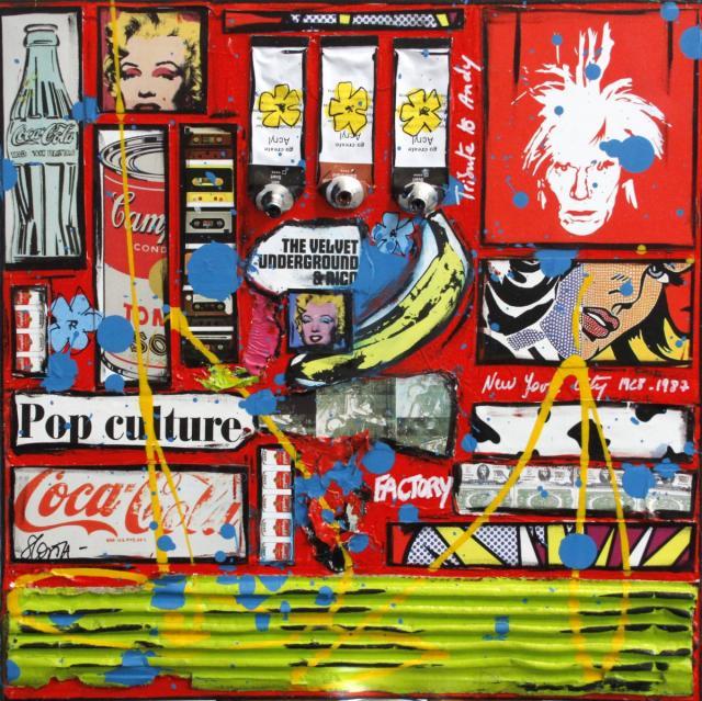 collage, warhol Tableau Contemporain, Tribute to Warhol. Sophie Costa, artiste peintre.