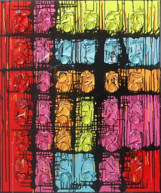 collage, canettes compressées, multicolore Tableau Contemporain, Put colors in your mind. Sophie Costa, artiste peintre.
