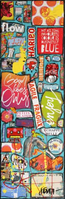 collage, upcycling, enjoy Tableau Contemporain, ENJOY # 2. Sophie Costa, artiste peintre.