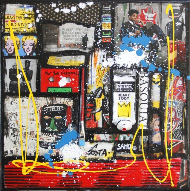 collage, basquiat Tableau Contemporain, Basquiat forever # 2. Sophie Costa, artiste peintre.