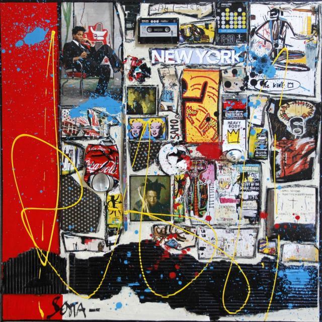 collage, basquiat, multicolore Tableau Contemporain, BASQUIAT, la rage créative.. Sophie Costa, artiste peintre.