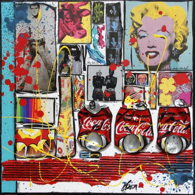 andy waruol, collage Tableau Contemporain, Tribute to Andy Warhol. Sophie Costa, artiste peintre.