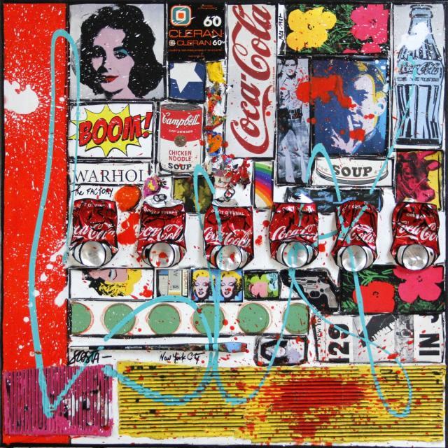collage, pop art Tableau Contemporain, BOOM !. Sophie Costa, artiste peintre.