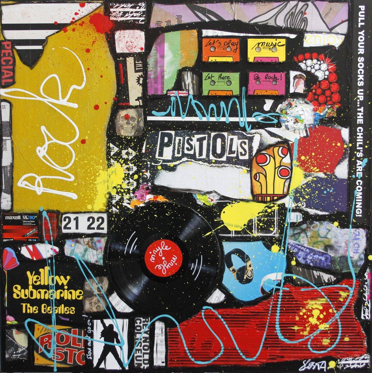 collage, music , rock Tableau Contemporain, ROCK # 2. Sophie Costa, artiste peintre.