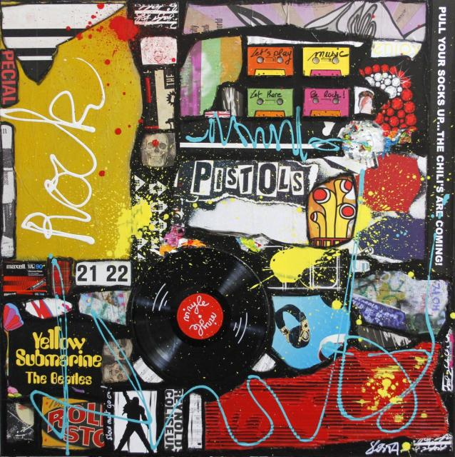 collage, music , rock Tableau Contemporain, ROCK # 2. Sophie Costa, artiste peintre.