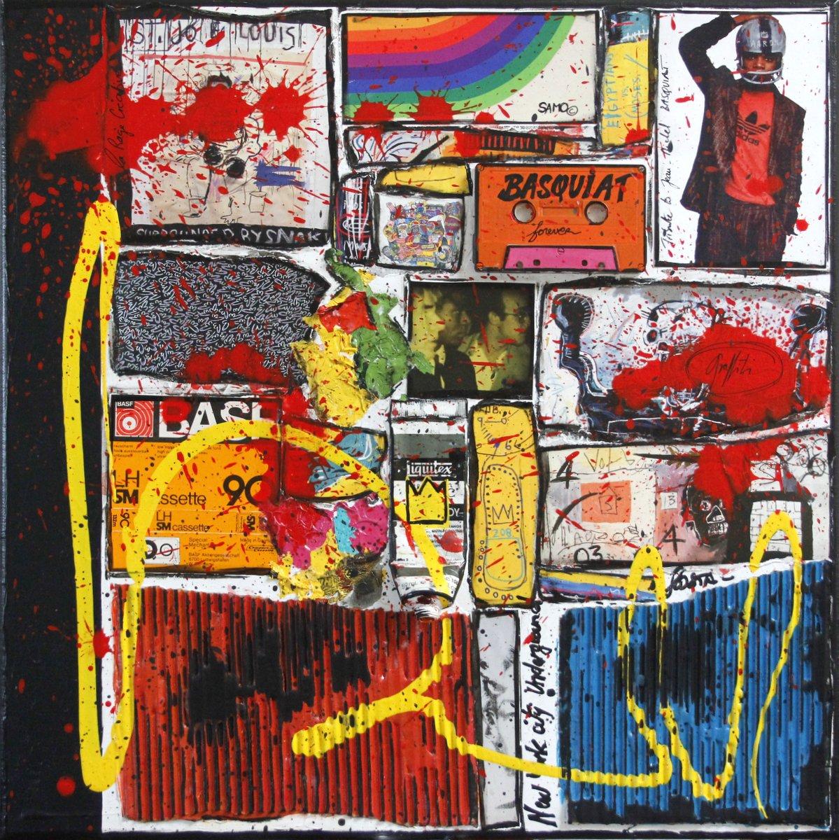 collage, basquiat Tableau Contemporain, BASQUIAT, the KING !. Sophie Costa, artiste peintre.