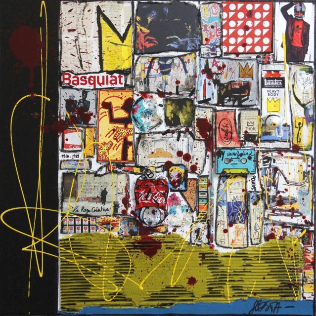 basquiat, collage Tableau Contemporain, Basquiat and co. Sophie Costa, artiste peintre.