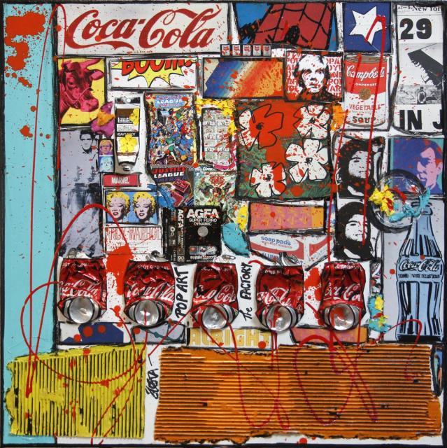 collage, popart, warhol Tableau Contemporain, ANDY # 2. Sophie Costa, artiste peintre.