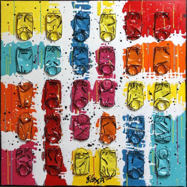 collage, canettes compressées Tableau Contemporain, Put colors in your heart # 2. Sophie Costa, artiste peintre.