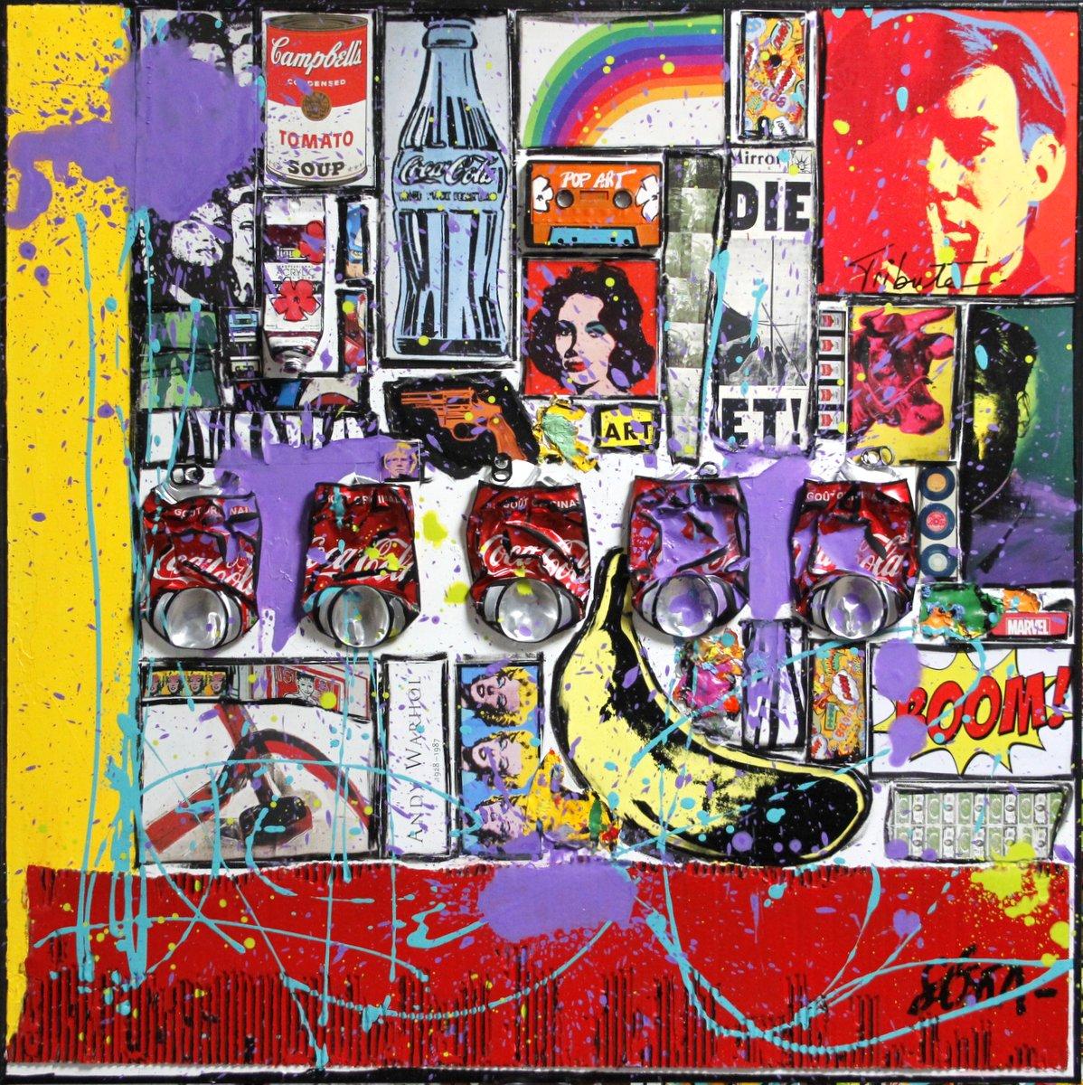 popart, warhol, collage Tableau Contemporain, Andy forever. Sophie Costa, artiste peintre.